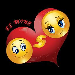 Liefdes smilie met groot rood liefdes hart