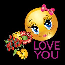 Liefdes smilie met de tekst love you en een bos bloemen