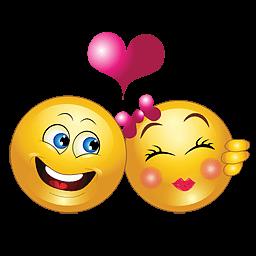 Liefdes smiley met verliefd stel en hartje