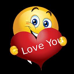 Liefdes smiley met rood liefdes hart