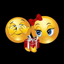 Liefdes smiley met een cadeautje