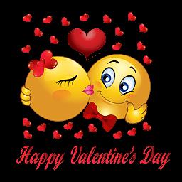 Liefdes smilies met tekst happy valantine's day en liefdes hartjes