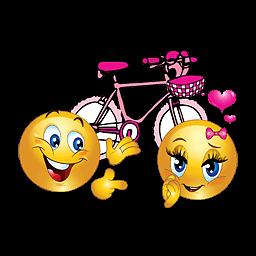 Liefdes smileys met fiets en hartje